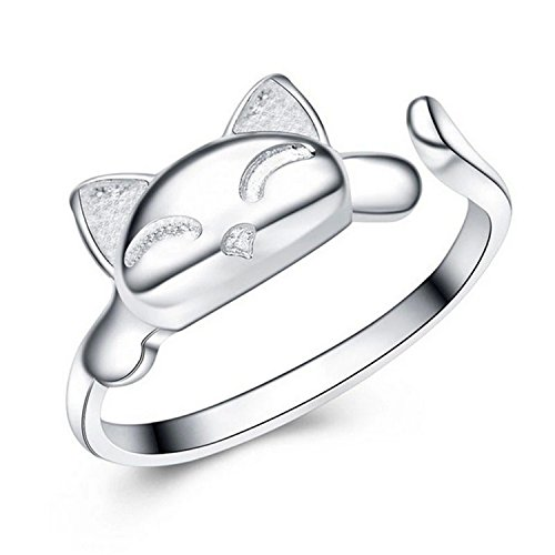 Creativelife Womens S925 Sterling Silver Cute Cat Women Open Ring,Adjustable