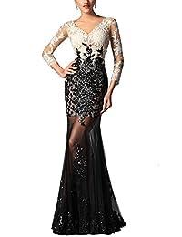 M Bridal Women's Illusion Sequines Appliques 3/4 Sleeve V-neck Formal Prom Dress