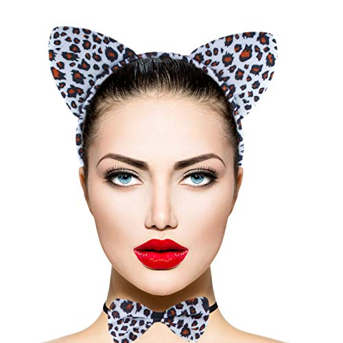 Lux Accessories Black White Spots Cheetah Ears Bowtie Tail Costume Party -