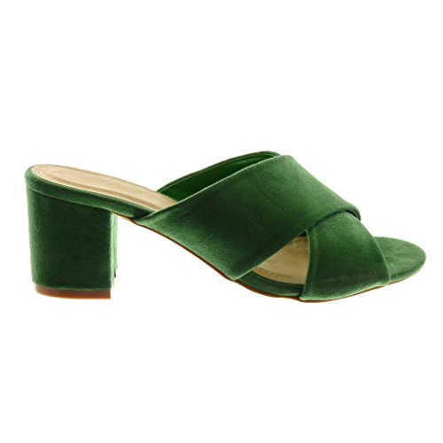 a Moda Angkorly Slip Blocco Alto Donna Tacco Sandali 7 Scarpe Mules On Verde Tanga cm z55qTAw