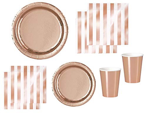 (Rose Gold Party Supplies Elegant Foil Paper Plates, Napkins, Paper Cups for 16)