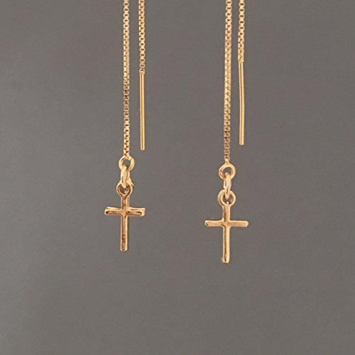 Cross Threader (Gold Fill Cross Box Chain Threader Earrings also in Sterling Silver)