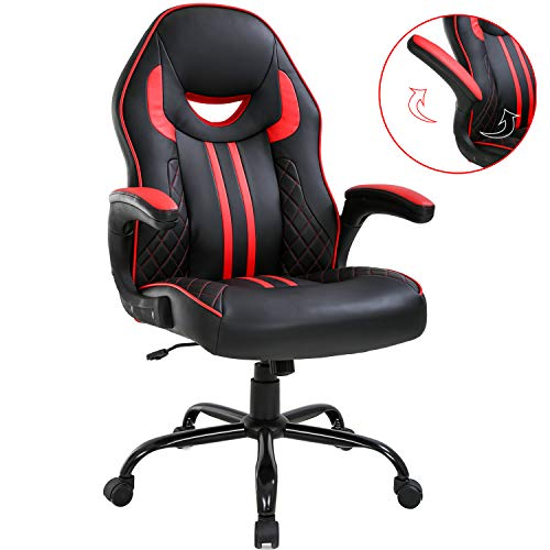 Gaming Chair Big and Tall Office Chair 400lbs Wide Seat Ergonomic Desk Chair Task High Back Rolling Swivel Adjustable Racing Computer Chair with Lumbar Support Armrest Headrest for Heavy People, Red