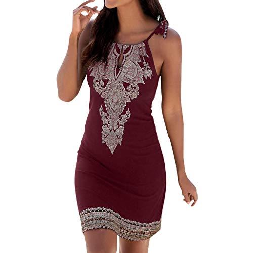 NANTE Top Women Dress Halter Neck Boho Dresses Bridesmaid V Print Sleeveless Casual Mini Beachwear Skirt Sundress Tops (XL, Red) ()
