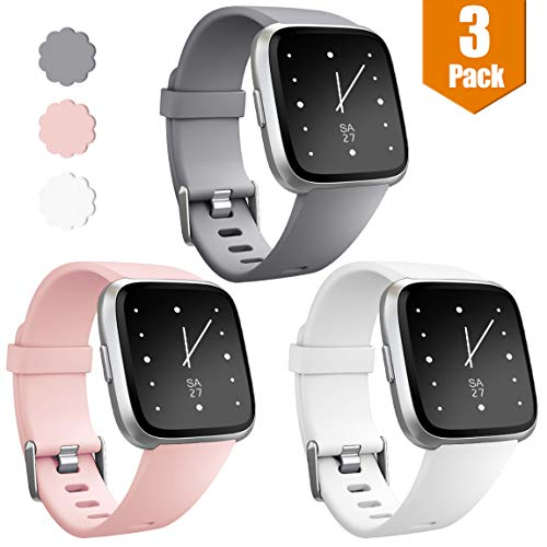 Maledan Bands Compatible with Fitbit Versa/Versa Lite/SE, Classic Accessories Replacement Band for Fitbit Versa Smart Watch, 3-Pack, Gray/White/Pink, Large