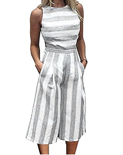 TUSFTAY Women Stripe Print Sleeveless Zipper Back Long Jumpsuit Romper Casual Strap Style (m, Grey)