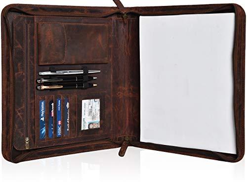 Leather Portfolio for Men Women - Leather Professional Folder with Laptop Sleeve