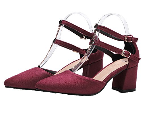 Amoonyfashion Donna Fibbia Scarpe Col Tacco A Punta Gessato Tinta Unita Pompe-scarpe Rosse