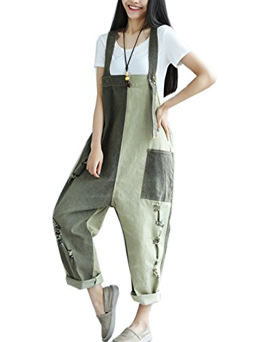 Flygo Women's Loose Baggy Denim Ripped Wide Leg Jumpsuit Rompers Overalls Harem Pants (One Size, Grey)