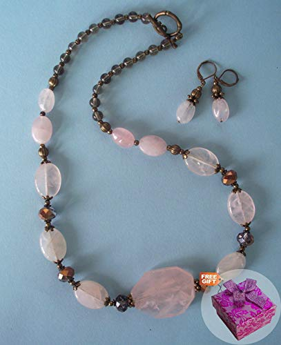 (Rose Quartz Nugget & Smoke Crystal Rhinestone Jewelry Necklace with Earrings For Women Set Bronze Handcrafted + Cute Gift Box for)