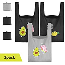 Reusable Grocery Bags, 3 Pack Foldable Shopping Bags Reusable 50LBS Cute Grocery Tote Bags with Pouch Bulk Ripstop Machine Washable Eco-Friendly (Black,Grey)