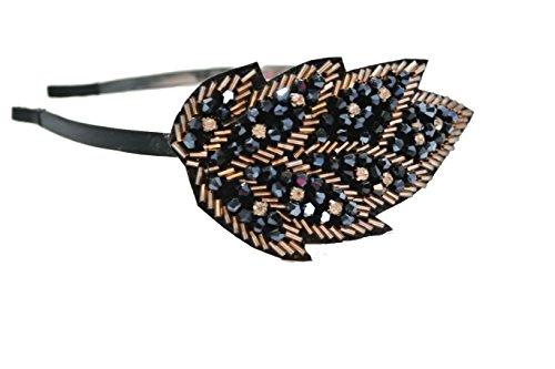 Chicky Chicky Bling Bling Beaded Leaf Jaren 1920 Stijl Hoofdband Womens Indigo Met Goud En Strass Steentjes