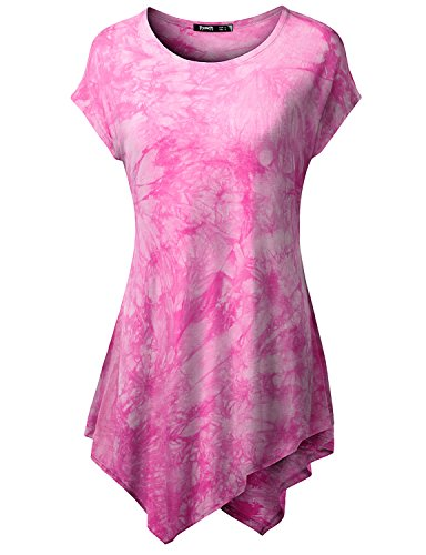 TWINTH Printed Tunic Plus Size Tie Dye Short Sleeve Handkerchief Hem Loose Fit Top Pink M (Tunic Pink Printed)