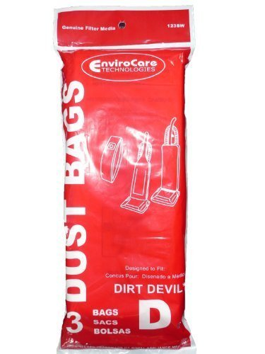 12 Royal Dirt Devil Type D Vacuum Bags, Featherlite, Lite Plus, Extra, Classic, Sensation, Toughtmate, Impulse, Upright Vacuum Cleaners, 3-670147-001, 3670147001, 670147 3-670075-001, 3670075001, 670075 3-670148-001, 6201, 5200, 6700, 6701, - Featherlite Dirt Bags Devil