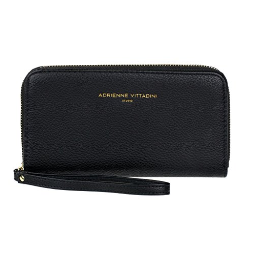 Clutch Tri Zip - Adrienne Vittadini Charging Zip Around Wallet Wristlet - iPhone Android - Black Pebble