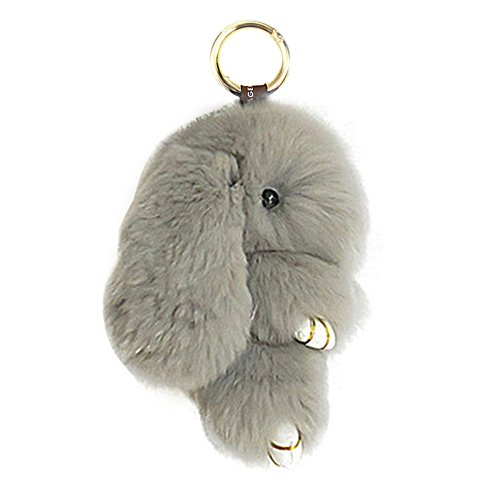 HXINFU Soft Cute Rabbit Fur Pom Pom Keychain Fluffy Real Rex Bunny Keychain Decoration]()