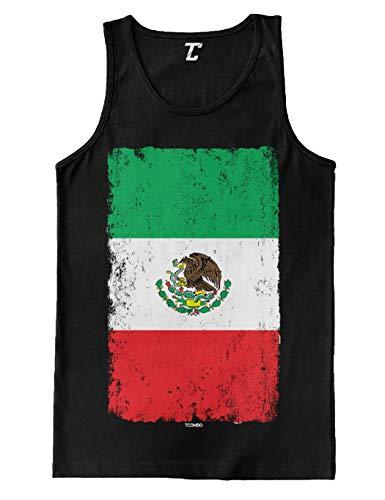 Distressed Mexico Flag - Mexican Eagle Latino Men's Tank Top (Black, Medium)