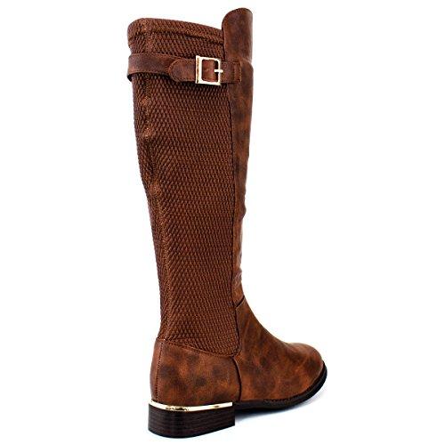 Premier Standard Damen Quilted Side Zip Kniehohe Flat Reitstiefel - Trendy High Heel Schuh - Sexy Kniehoher Stiefel - Bequeme Easy Heel Braun