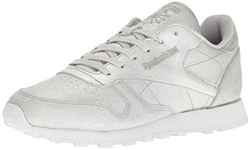 Reebok Women's cl lthr syn Fashion Sneaker, Diamond-Silver Metallic/Snow Grey/White, 9 M US