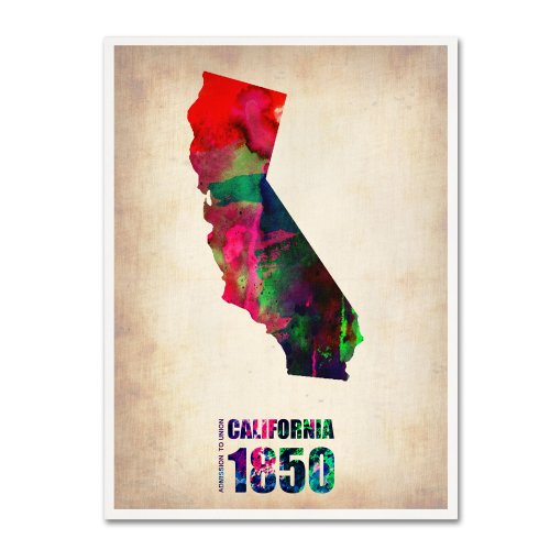 California Watercolor Map by Naxart, 18 by 24-Inch Canvas Wall Art from Trademark Fine Art