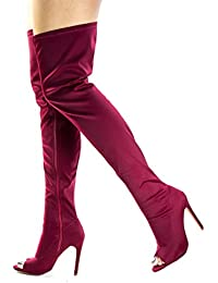 Amazon.com: Red - Over-the-Knee / Boots: Clothing, Shoes & Jewelry