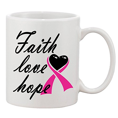 P&B Faith Love Hope Cancer Awareness Ceramic Coffee Mugs 11 oz (Hope Faith Love Pink Ribbon)