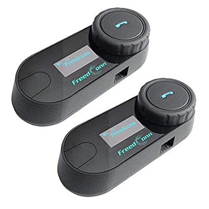 Freedconn TCOM-SC Moto Intercom Oreillette Bluetooth Casque de Moto Interphone intercom headsets avec GPS Ecran LED 2 pi/èce avec /étiquette Dure Radio FM