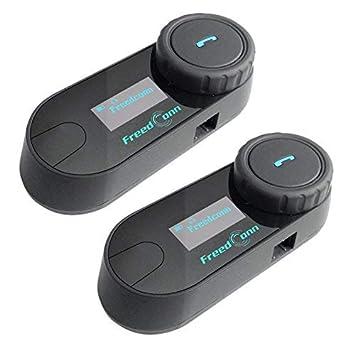 e80d923fd81e5 Freedconn TCOM-SC Moto Intercom Oreillette Bluetooth Casque de Moto  Interphone intercom headsets avec GPS, Radio FM, Ecran LED (2 pièce avec ...