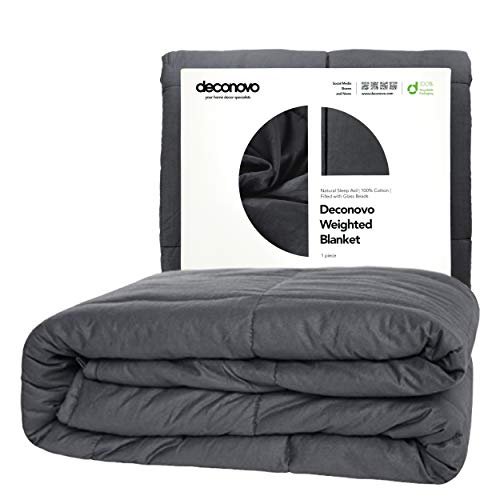 Cheap Deconovo Weighted Blanket 100% Cotton Heavy Blanket Filled with Glass Beads (60 x 80 inch | 15 lbs) Black Friday & Cyber Monday 2019