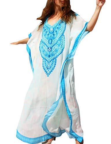 (Bsubseach Women Plus Size Swimsuit Cover Up Swimwear Batwing Sleeve Beach Kaftan Dress)
