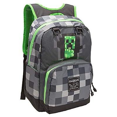 "JINX Minecraft Creepy Creeper Kids Backpack (Grey, 17"") for School, Camping, Travel, Outdoors & Fun"