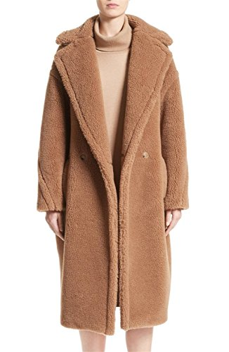 Women's Luxury Long Warm Fuzzy Cozy Faux Fur Teddy Bear Coat - Camel/S