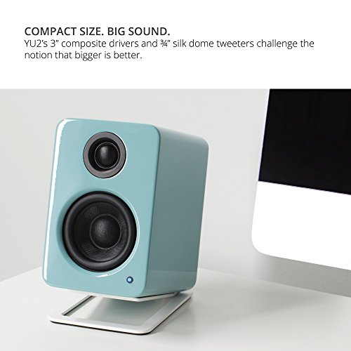 "Kanto 2 Channel Powered PC Gaming Desktop Speakers – 3"" Composite Drivers 3/4"" Silk Dome Tweeter – Class D Amplifier - 100 Watts - Built-in USB DAC - Subwoofer Output - YU2GT (Gloss Teal)"