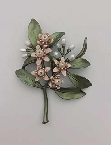 TKHNE Alloy enameled green leaves and branches natural freshwater pearl orange flower brooch pin badge Mother's Day gift for her (Enameled Leaf Pin)