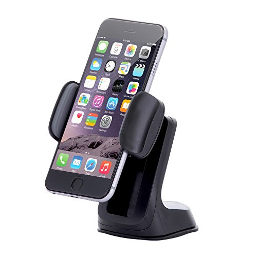 Dash Crab Duet - Car Mount Universal Cell Phone Holder, Height Adjustable Smart Grip, Dashboard Windshield Car Mount for iPhone X 8 7 6s Plus Samsung Galaxy S7 S6 Edge Note 5 4 -Retail Pack(Black)