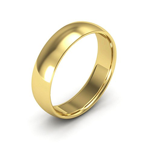Ring Wedding Plain Band 5mm (14K Yellow Gold men's and women's plain wedding bands 5mm comfort-fit light, 9.5)