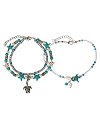 SPUNKYsoul New! Starfish & Turtle Anklet Set of 2 Anklets Nautical Collection