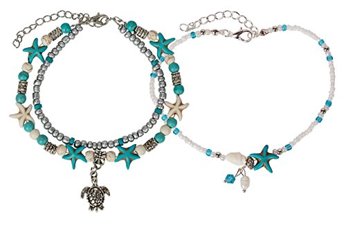 (SPUNKYsoul Turtle Charm Starfish Howlite Anklet Multiple Layered Boho Silver New! Turquoise Colored Pearl Chain Set for Women Beach Collection)