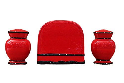 Ruffle Salt Pepper and Napkin Holder Set