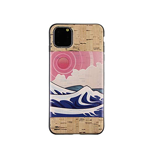 Cork Wood Cases Compatible with iPhone 11/11 Pro/11 Pro Max - Natural Eco-Friendly Designs by Reveal Shop (Japanese Ocean, 11)