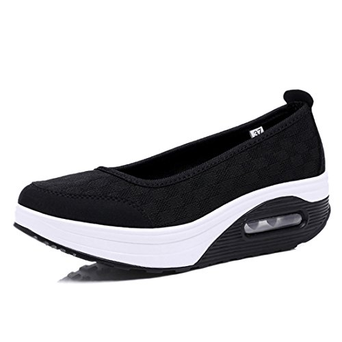 Black Platform Breathable Fashion Shape Sport Shoes Sneaker Jiyaru Slip Women's Up on A7YqnP1wt