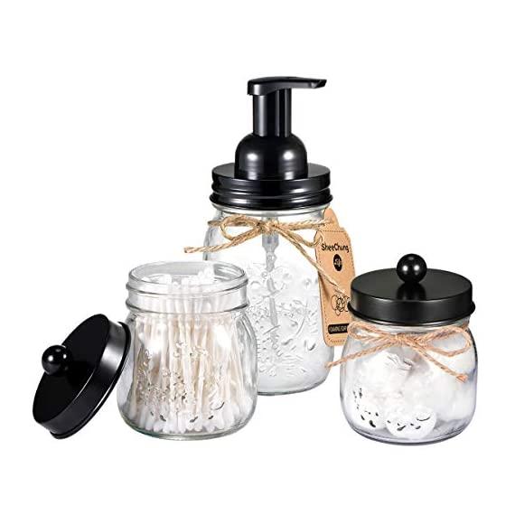 Mason Jar Bathroom Accessories Set - Mason Jar Foaming Hand Soap Dispenser and Qtip Holder Set - Rustic Farmhouse Decor Apothecary Jars Bathroom Countertop and Vanity Organizer (Black)-Patent Pending - ✅ STYLISH STORAGE: Creat depth, texture and a beautiful space by using the mason jar soap dispenser and qtip holder storage jars.It's a cute shabby chic home accessories set you can get!Ideal modern farmhouse decor! ✅ FOAMING HAND SOAP DISPENSER PUMP - Our foaming hand soap dispenser creates luxurious foaming soap with a simple push.DIY the foaming soap by mixing 4 parts water and 1 parts regular soap if you like.Eco-friendly for the environment as well as your household budget ✅ DECORATIVE QTIP HOLDER - The small mason storage jars are an attractive way to organize items like Q-tips, cotton balls, flossers, hair bands or any other bathroom necessities and accessories.Please kindly note:The lid does not screw onto the jar, so it comes off very easily - bathroom-accessory-sets, bathroom-accessories, bathroom - 41P22VVzKiL. SS570  -