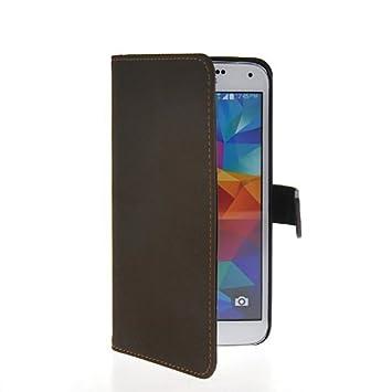 HKCFCASE Funda de cuero Cartera Carcasa Tapa Case Cover Para Samsung Galaxy S5 café: Amazon.es: Electrónica