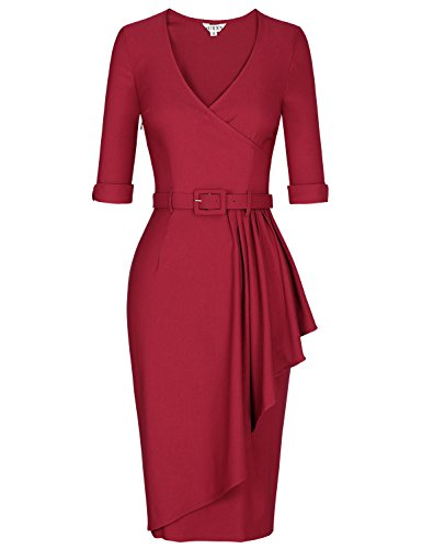 Sleeve Knit Wrap (MUXXN Womens Elegant 3/4 Sleeve Knit Wrap Wear to Work Pencil Dress (Burgundy S))