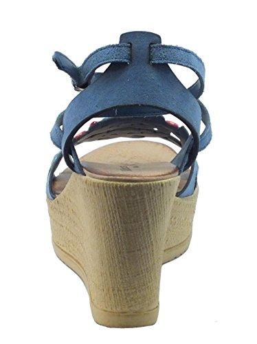 44bf0ede ... Mercante di Fiori Ima 45988 Camoscio Blu - Sandalias de vestir de Piel  para mujer turquesa