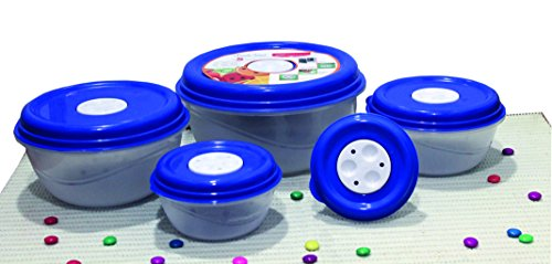Princeware Fresh Ven Bowl Package Container Set, 5-Pieces, Blue