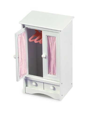 Badger Basket Doll Armoire with Three Hangers - White (fits American Girl dolls) by Badger ()