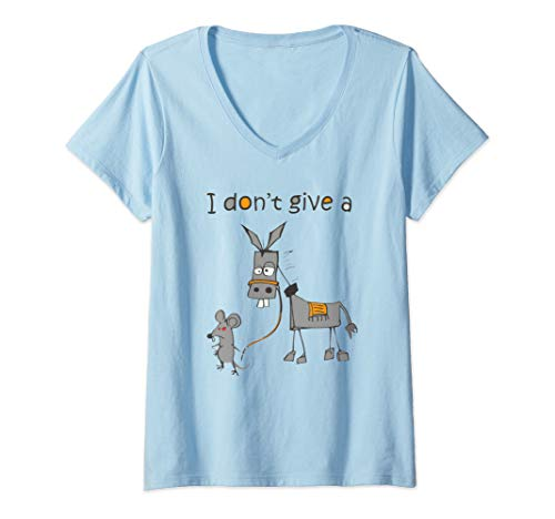 Womens I Don't Give A Rats Ass Mouse Walking Donkey Gift V-Neck T-Shirt