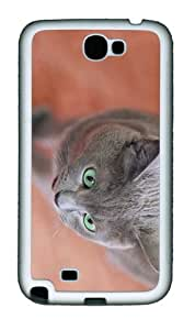 popular cover Gray Cat Green Eyes TPU White case/cover for samsung galaxy N7100/2