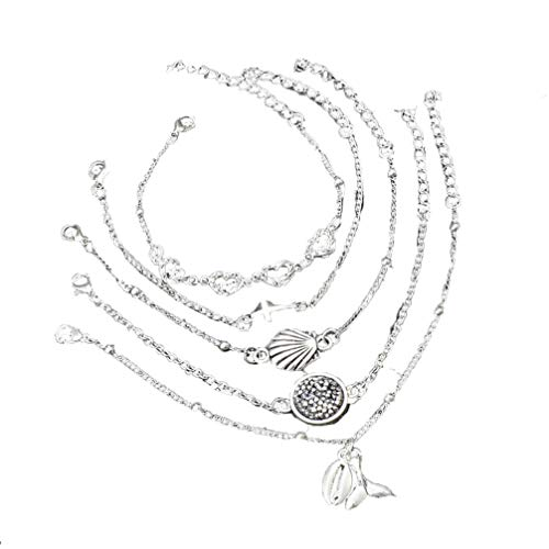 Myhouse Vintage Rhinestone Heart Shape Cross Shell Fishtail Pendant Set Bracelet Charm Accessories for Women Girls ()